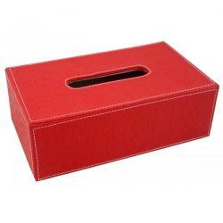 Boîte à mouchoirs aspect autruche rouge