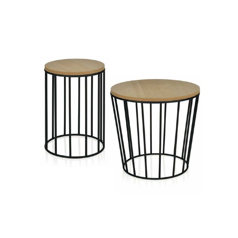 table basse ronde bois pied metal. Black Bedroom Furniture Sets. Home Design Ideas
