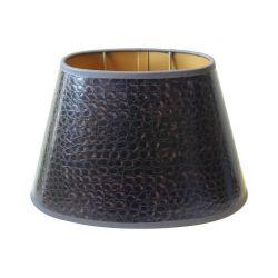 Abat-jour ovale simili cuir façon croco brun 20*14*14