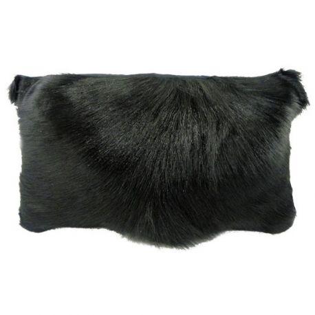Coussin en peau de chèvre noire 30*50