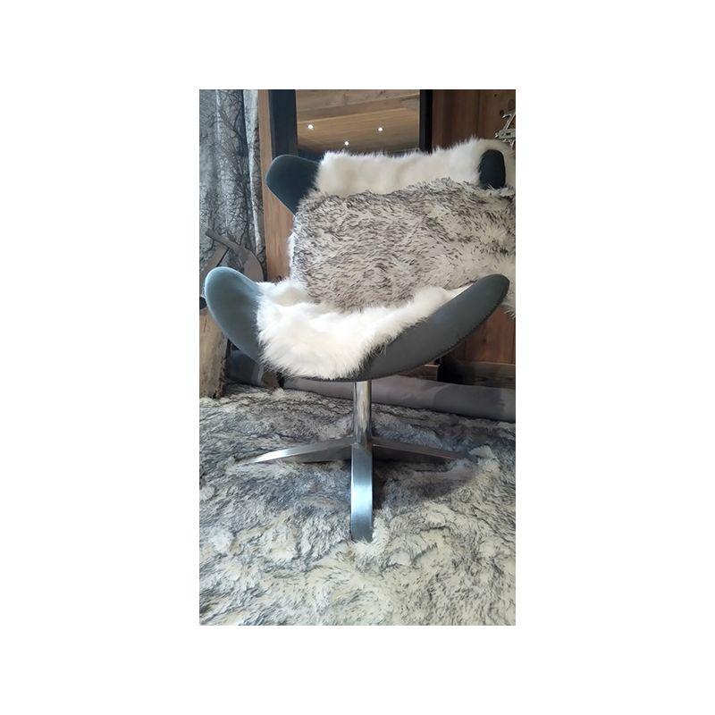 Tapis fourrure blanc m ch gris - Tapis fausse fourrure blanc ...