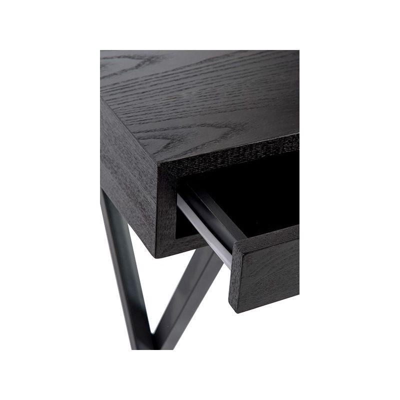Bureau noir 2 tiroirs for Bureau 2 tiroirs