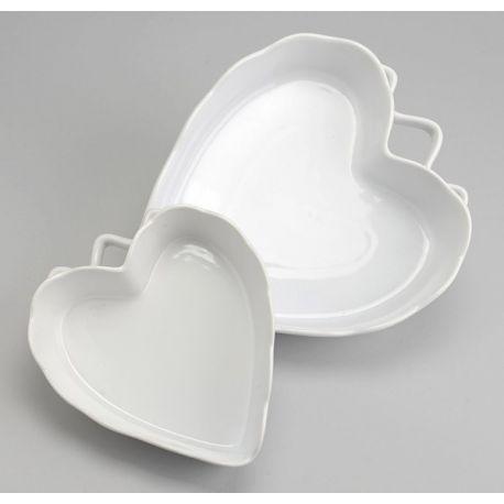 Plat gratin coeur blanc L31
