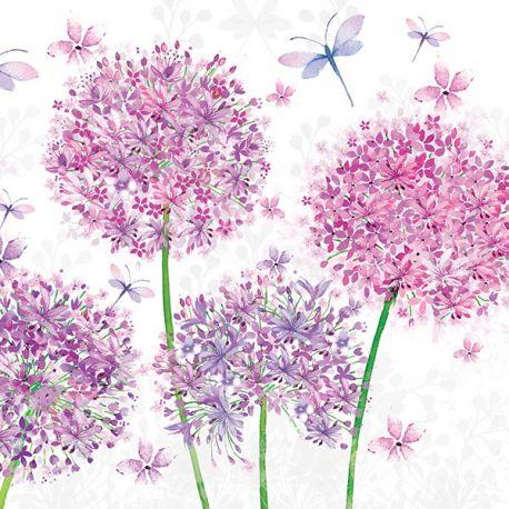 Lot de 20 serviettes fleurs roses 33*33
