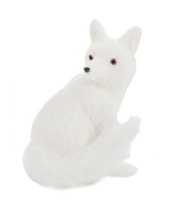 Renard blanc assis H28cm