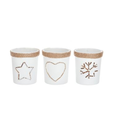 Set de 3 photophores verre opalin