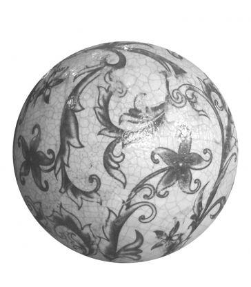 Boule céramique feuilles 12cm