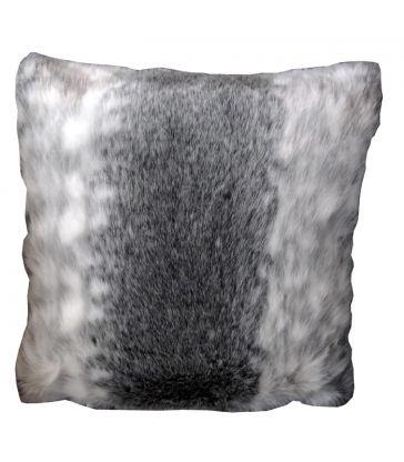 Coussin gris et blanc fausse fourrure 40x40