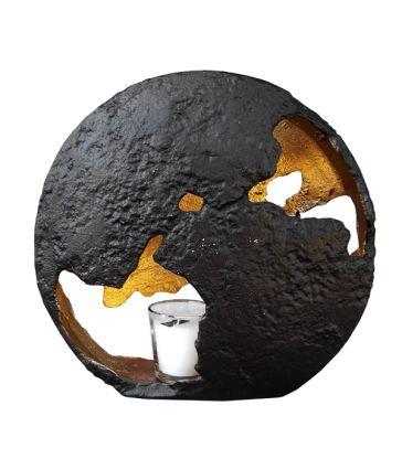 Photophore planisphère noir et or H28