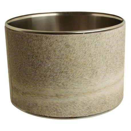 abat jour cylindrique peau de vache grise