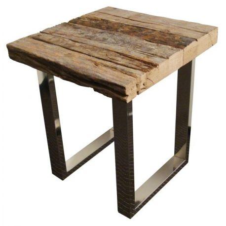 Table d'appoint vieux bois et pieds acier