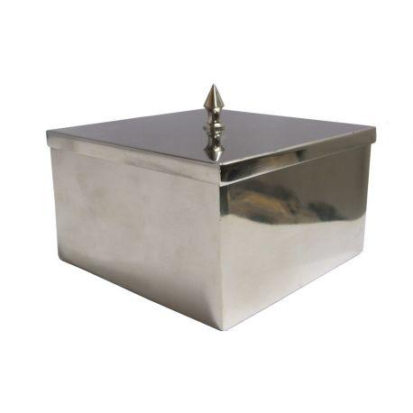 Boîte carrée argentée avec couvercle