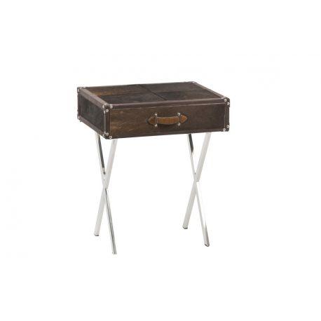 Table avec tiroir en métal et peau marron