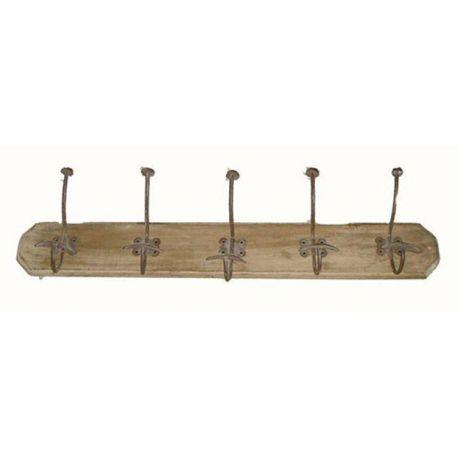 Patère bois et métal 5 crochets