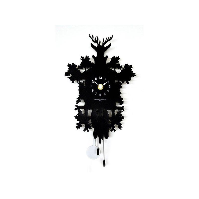 Horloge murale contemporaine chalet montagne noir - Horloge contemporaine murale ...