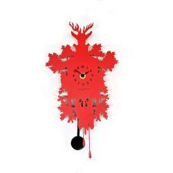 Horloge murale métal rouge
