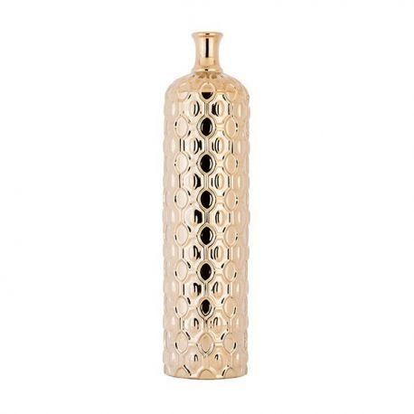 Vase bouteille céramique dorée