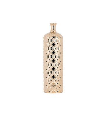 Vase bouteille en céramique dorée de taille moyenne