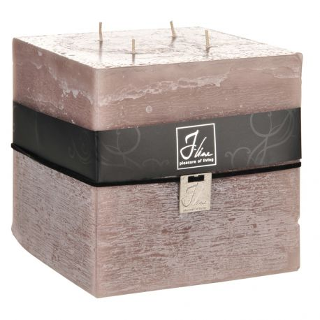 Bougie cube taupe H15