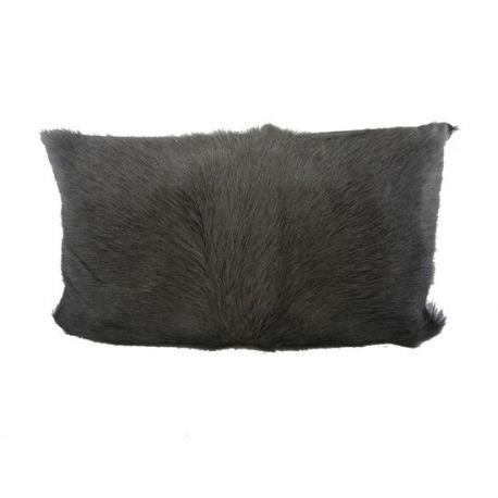 Coussin en peau de chèvre gris foncé 30*50
