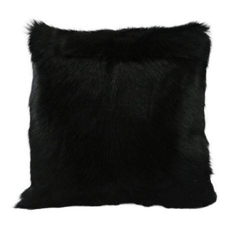 Coussin en peau de chèvre noir 40*40