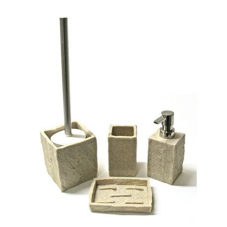 Distributeur savon pierre beige