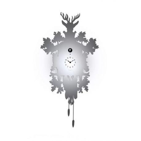 Coucou mural acier inox oiseau blanc
