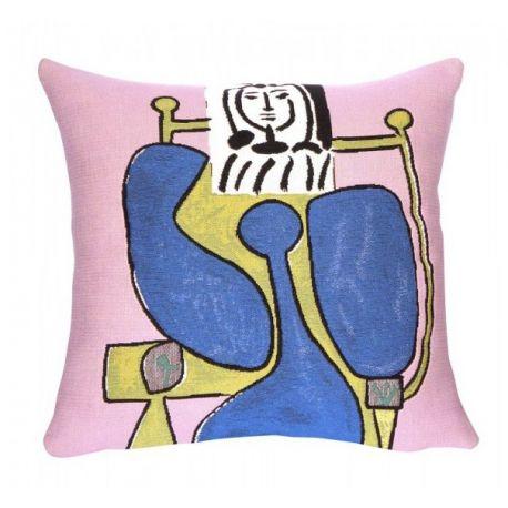 Housse de coussin Femme assise à la robe bleue, Picasso, 45*45