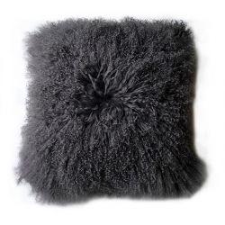 Coussin agneau du Tibet noir 35*35