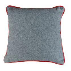 Coussin gris en drap de laine 46*46