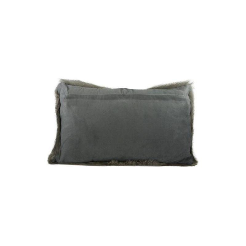 Coussin en peau de ch vre gris 30x50 - Coussin en poil de chevre ...