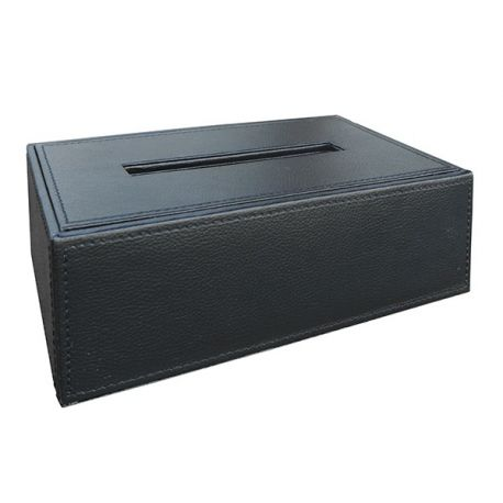 Boîte à mouchoirs simili cuir noir