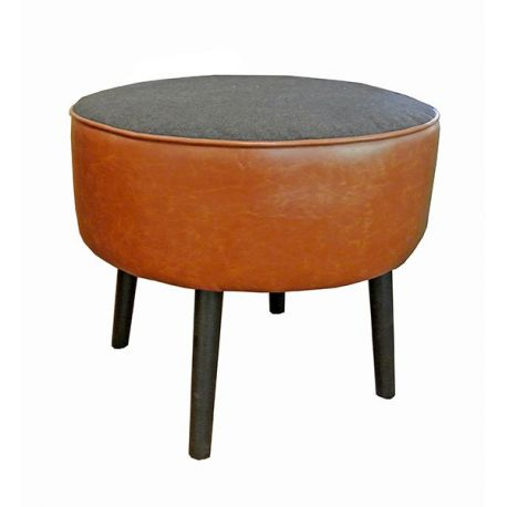 Tabouret Kingston rond cuir marron