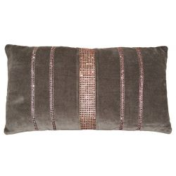 Coussin velours et strass taupe 30*50