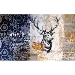 Tapis tête de cerf composition bleue 75x120