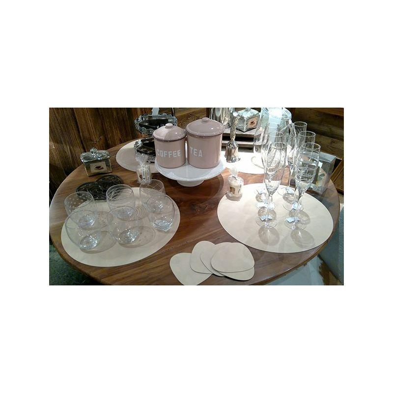 Set de table rond en cuir couleur taupe - Chemin de table taupe ...