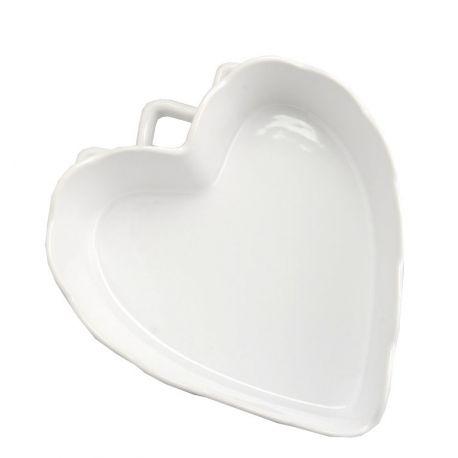 Plat gratin coeur blanc L22
