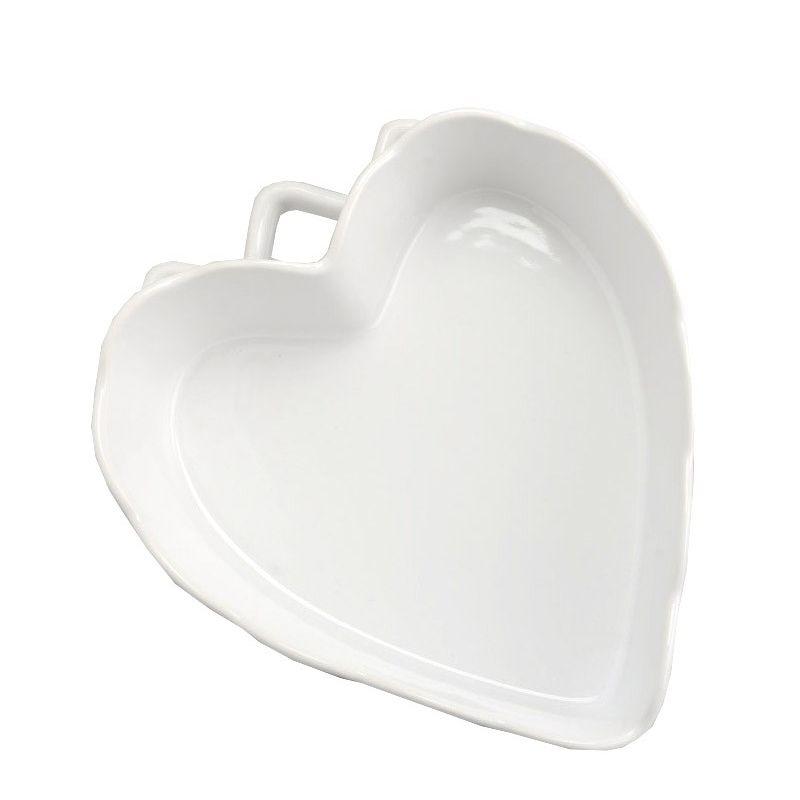 Plat gratin coeur blanc pm