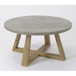 Table basse béton pied bois