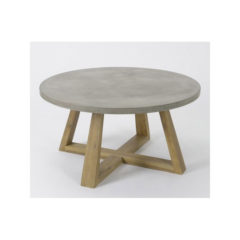 Table plateau b ton for Table basse blanche pied bois