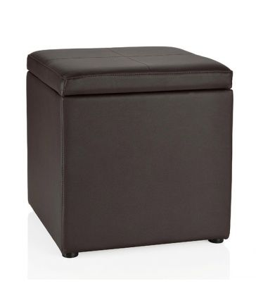 Pouf marron simili cuir marron