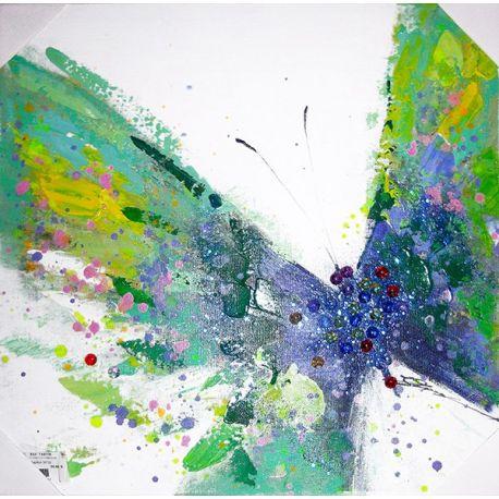 Tableau Papillon vert 50*50