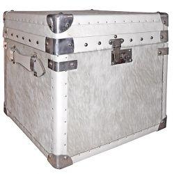 Cube cuir et peau de vache blanche