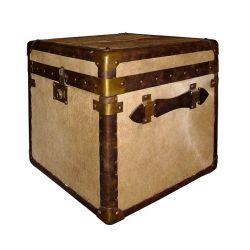 Cube cuir et peau de vache marron