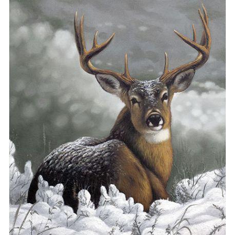 Toile cerf sous la neige