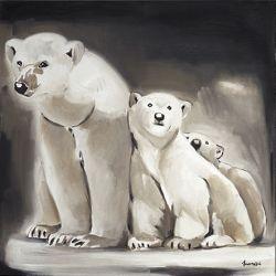 Toile Oursons avec leur mère