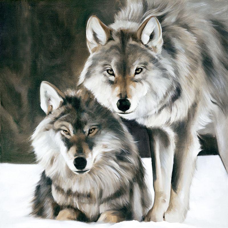 Toile Duo de loups