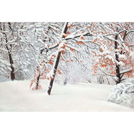 Tableau Forêt automnale sous la neige