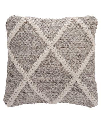 Coussin quadrillé laine beige et blanche 45*45