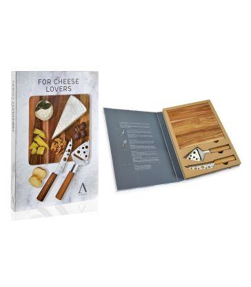 Set de 2 couteaux fromage et planche carrée acacia